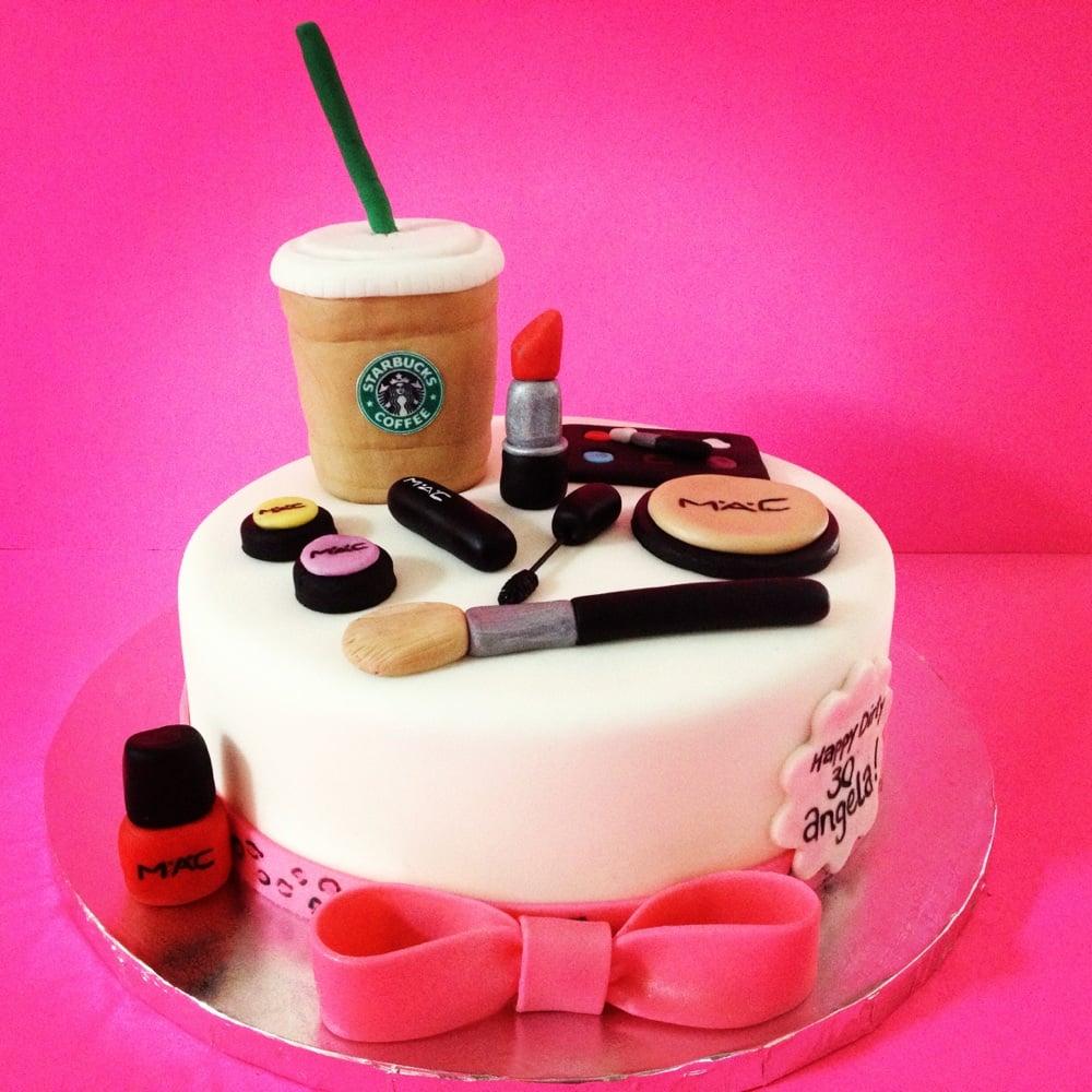 Mac Makeup And Starbucks Themed Cake