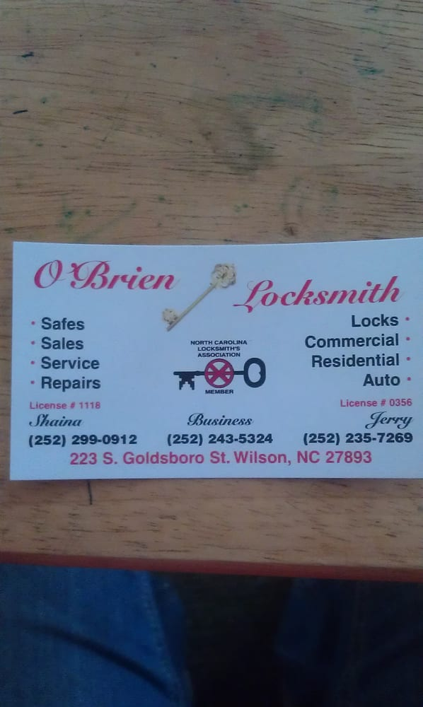 O'Brien Locksmith: 223 Goldsboro St S, Wilson, NC
