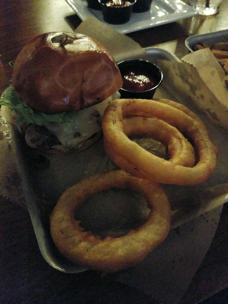 Bourbon Butcher Kitchen Bar Farmington : Mushroom and Swiss with onion rings - Yelp