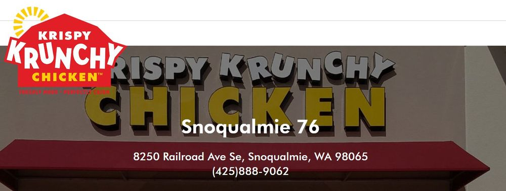 Krispy Krunchy Chicken: 8250 Railroad Ave SE, Snoqualmie, WA