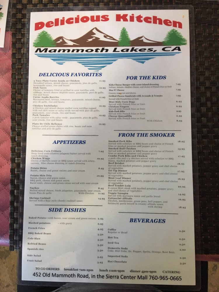 Z Ranch Mammoth Menu Delicious Kitchen's me...