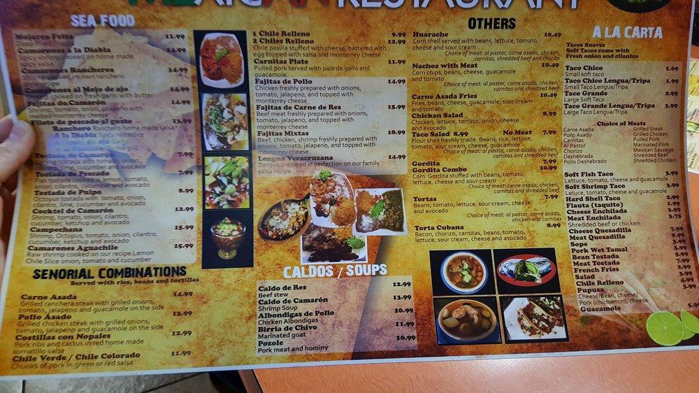 Photo Of Senorial Mexican Restaurant Banning Ca United States Menu