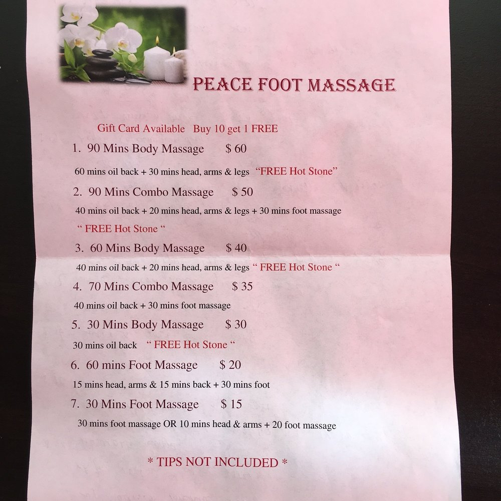 Peace Foot Massage - Massage - 8635 Greenleaf Ave, Whittier, CA - Phone  Number - Yelp