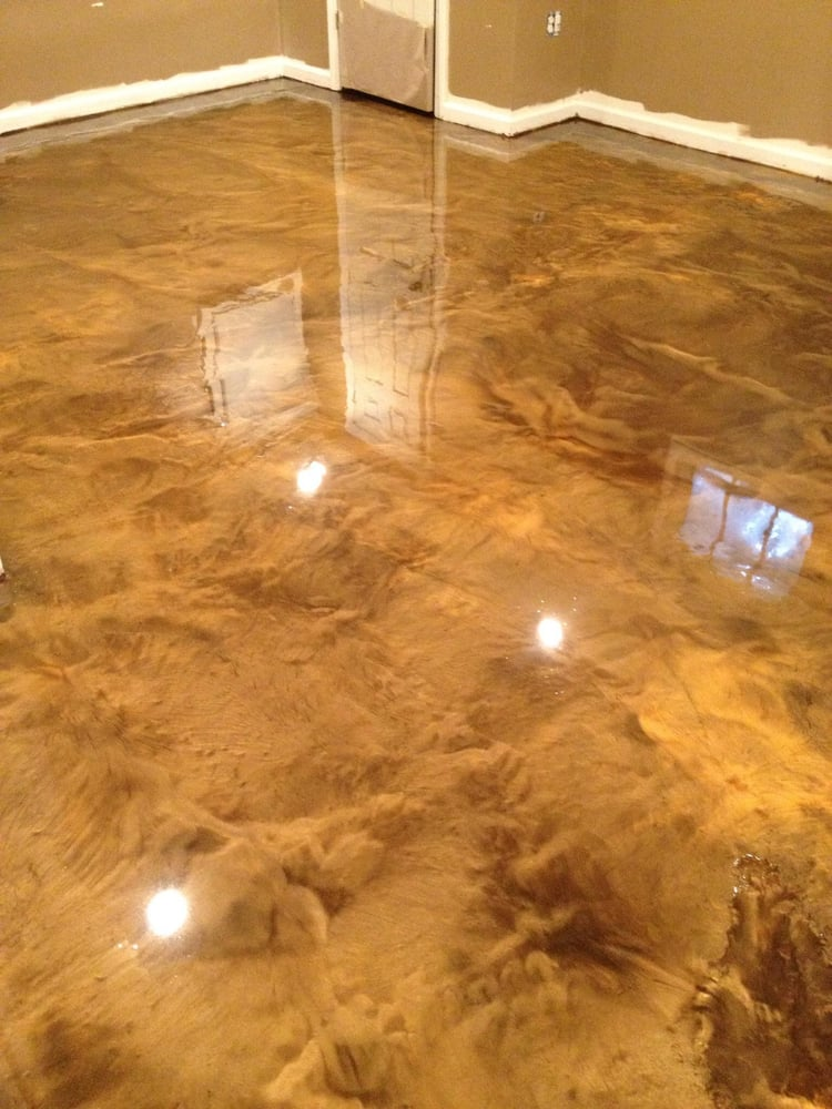 Coffee And Copper Color Mix Metallic Epoxy Job Done In A