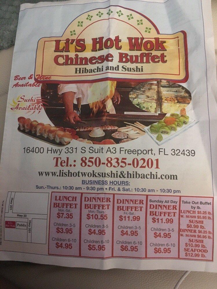 Li's Hot Wok, Sushi & Hibachi: 16400 US-331, Freeport, FL