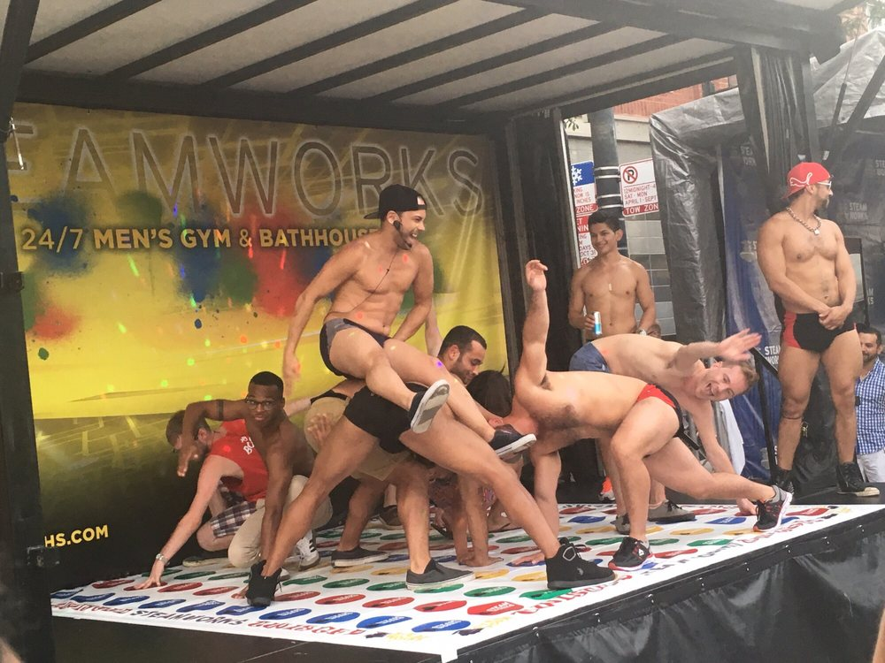 Perhaps naked men playing twister