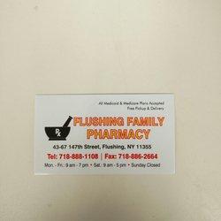 Flushing family pharmacy drugstores 4367 147th st murray hill photo of flushing family pharmacy flushing ny united states business card reheart Gallery