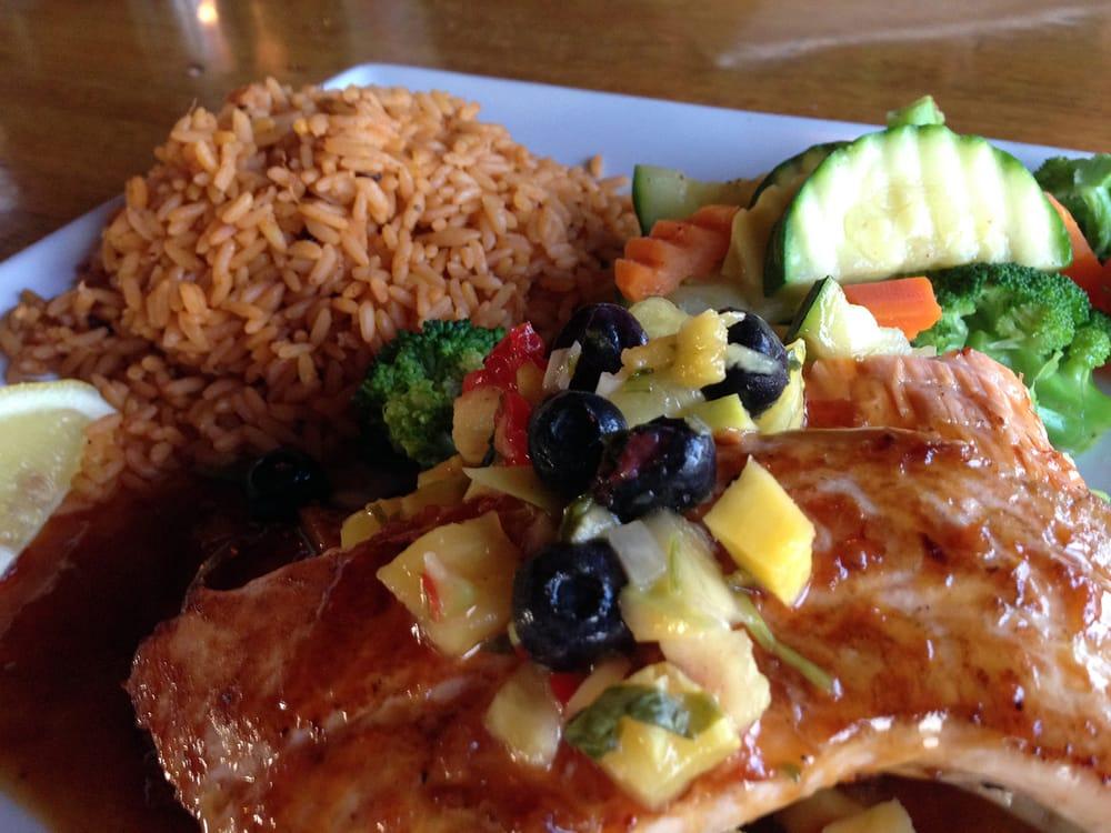 Teriyaki Salmon, served with seasoned rice, fresh ...