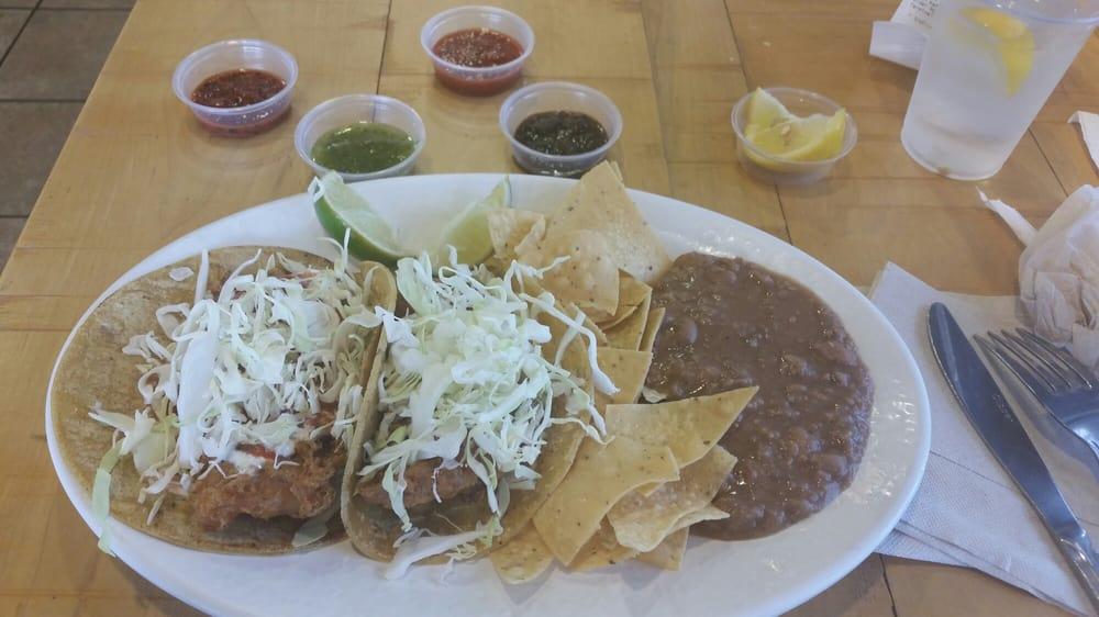 Original fish taco plate with an assortment of salsas yelp for Rubio s coastal grill the original fish taco