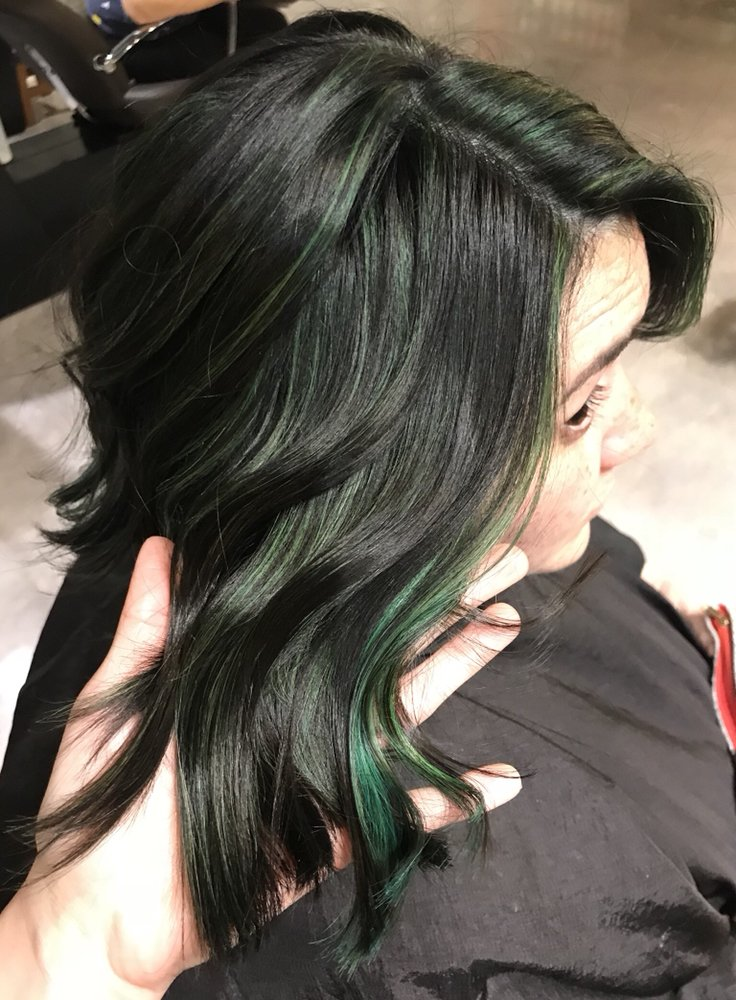Fashion Hair Color Emerald Green Accent Color Pop With A Side Of A
