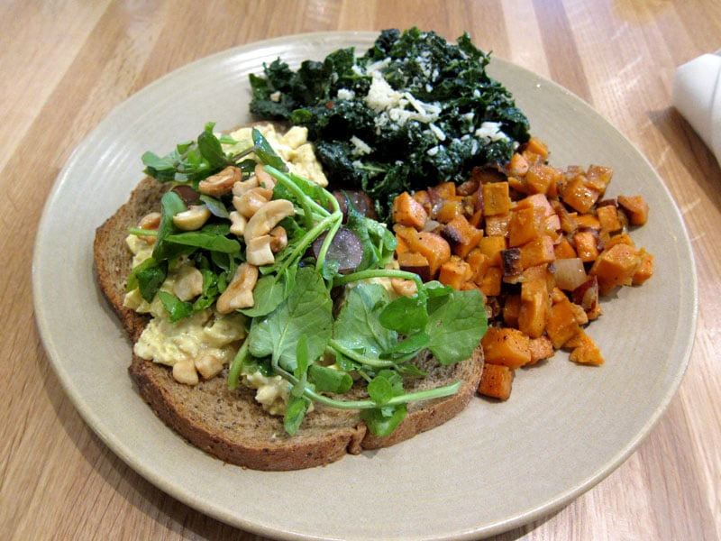 ... Moroccan Chicken Salad Sandwich with Kale salad and Sweet Potato Hash