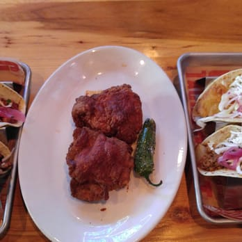 Nashville style fried chicken. From top left: cured pork belly taco ...