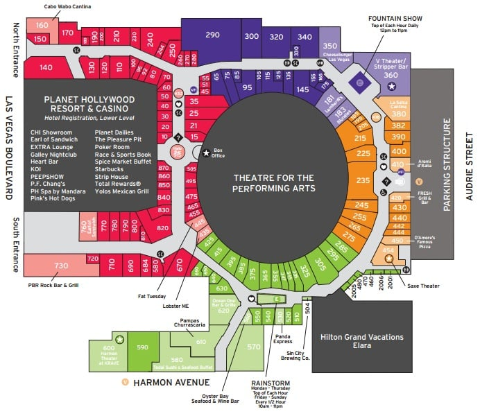 Planet Hollywood Casino Floor Map