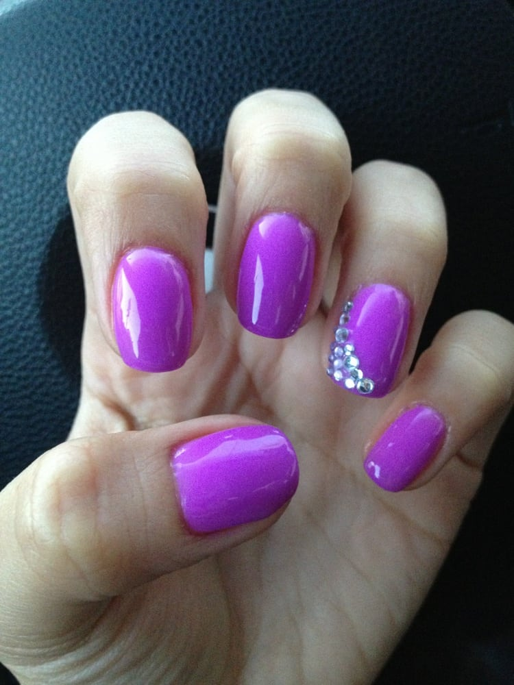 Awesome gel nail color selection! Gel nails and rhinestone design - Yelp