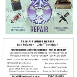 Thin Air Audio - Electronics Repair - Ypsilanti, MI - Phone