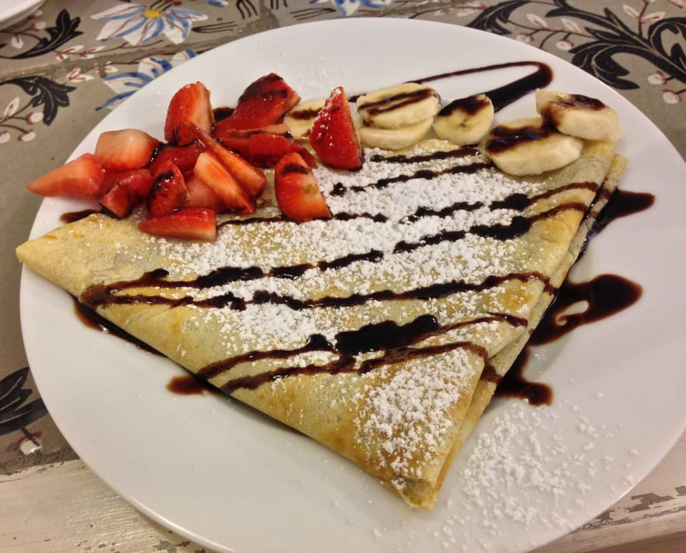 ... Crepe: Strawberry, Banana on Nutella. Perfect after a Savory Crepe