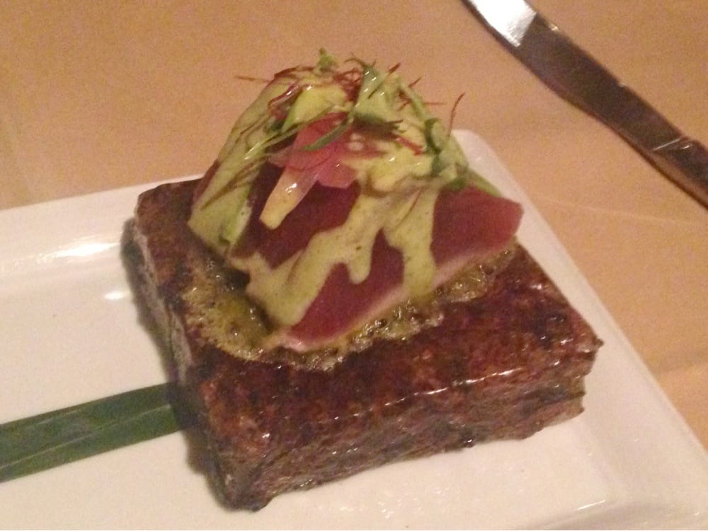 Sushi grade tuna seared on a block of himalayan sea salt for Where to buy sushi grade fish near me