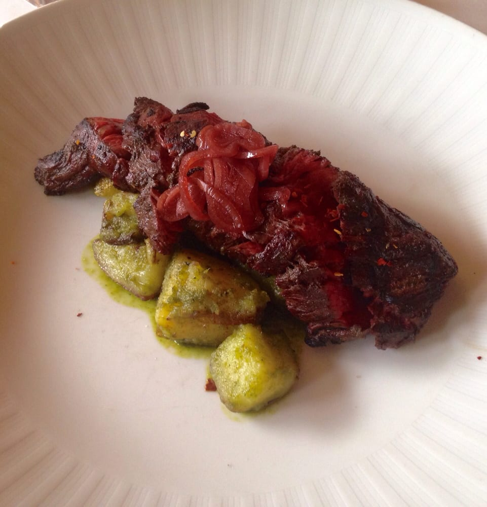 Hanger steak with picked shallots - Yelp