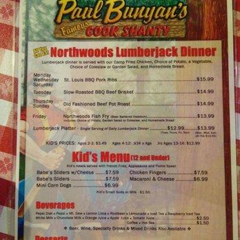 Paul Bunyan Restaurant Menu