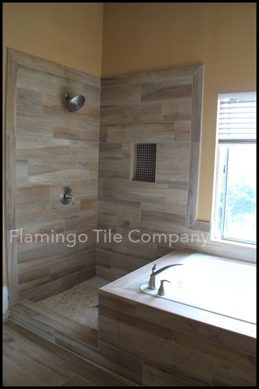 Faux Wood Plank Tile Shower Yelp