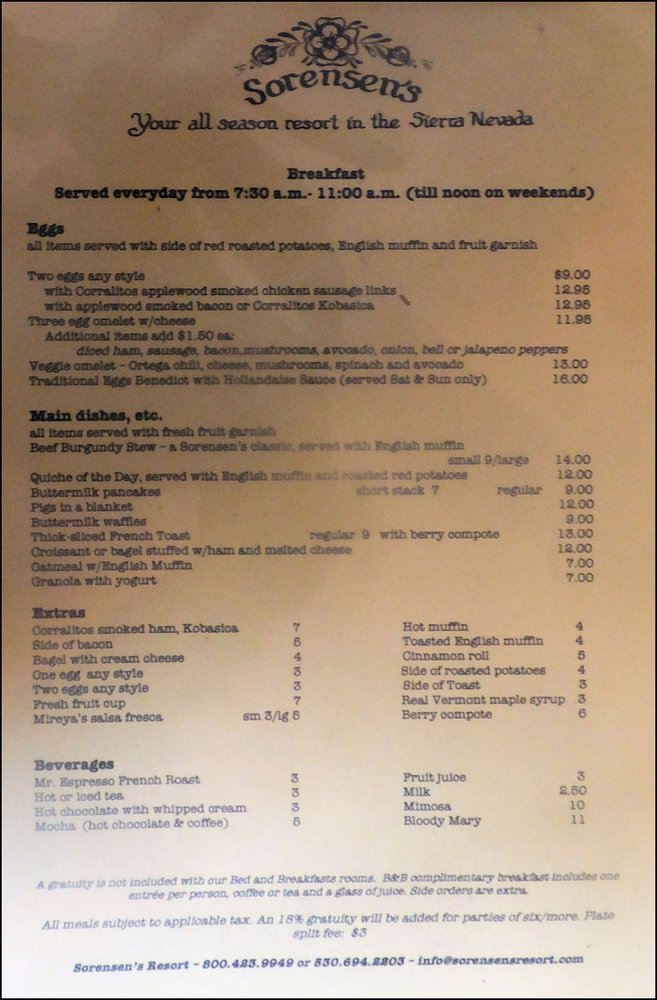 Sorensen's Country Cafe: 14255 CA-88, Markleeville, CA