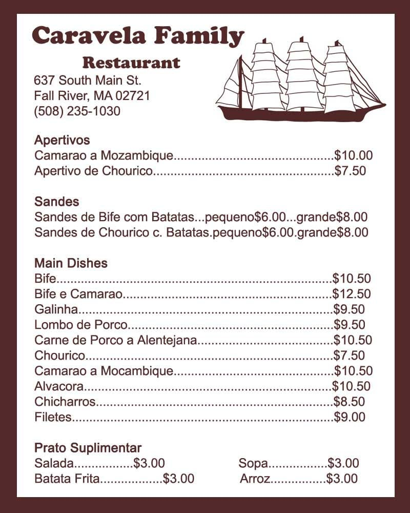 Caravela Restaurant Fall River Ma Menu