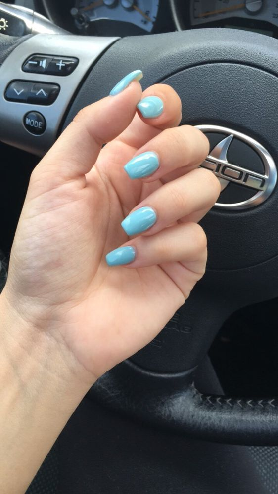 Baby Blue Coffin Nails Color Length And Shape Are Perfect For