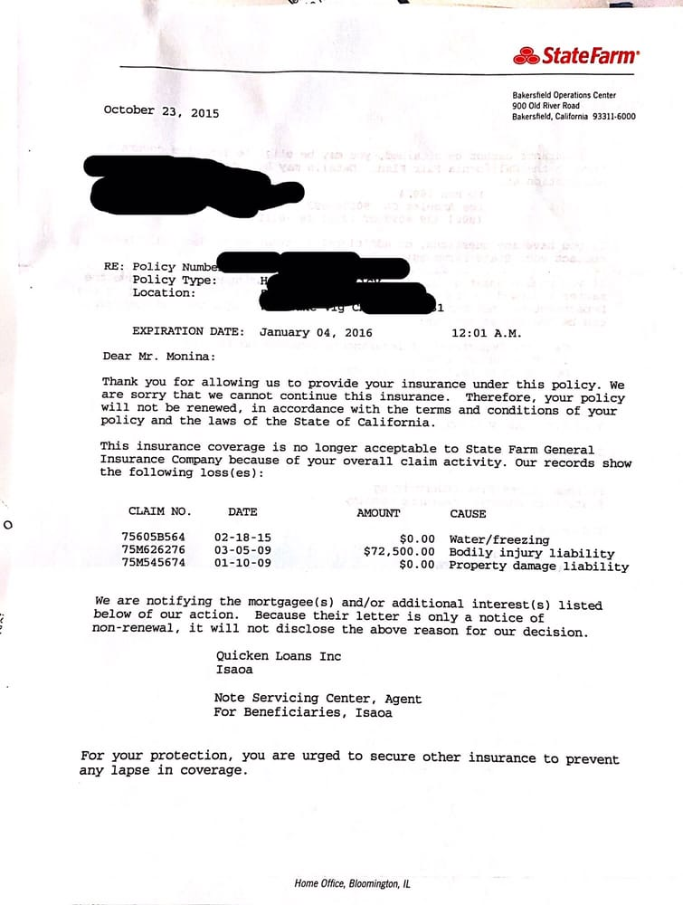 Letter Of Cancellation Received From State Farm Insurance