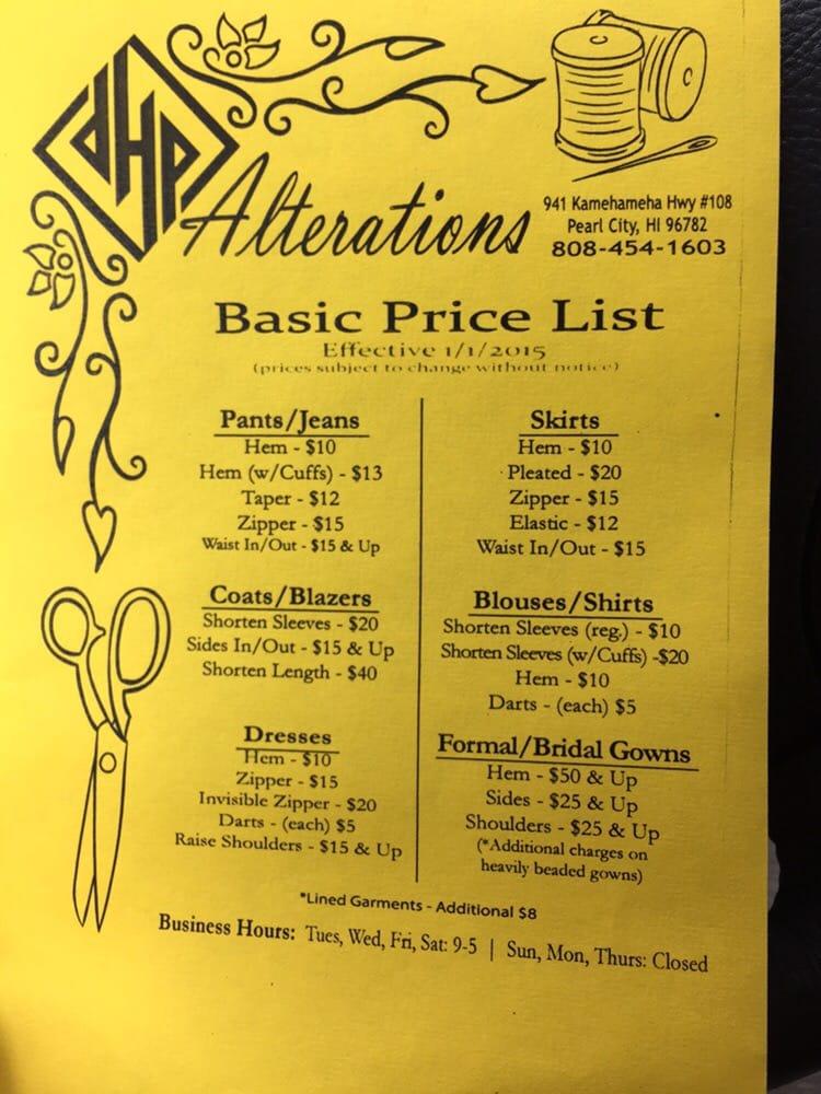 New Price List 2015 - Yelp