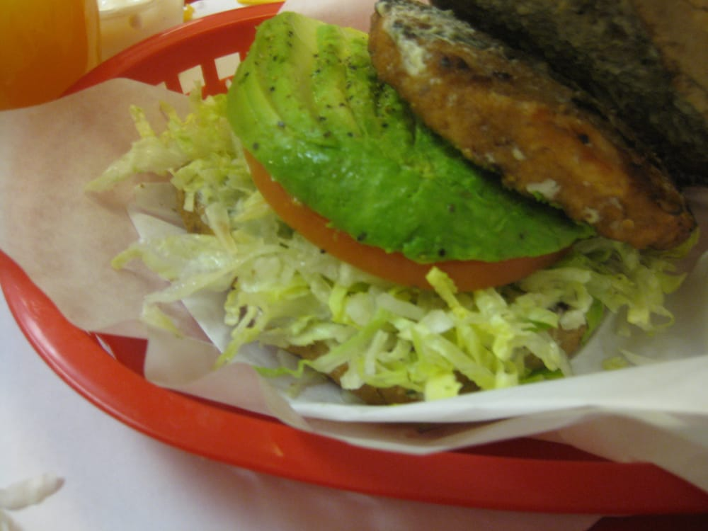 Salmon burger with avocado...seems like they add a whole ...