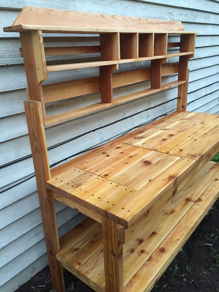 Built this potting bench with some of their lumber yelp for Dunn lumber