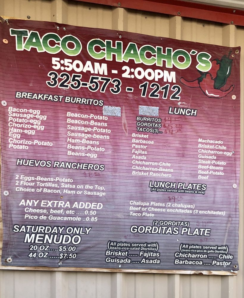 Tacos Chacho's: 4000 College Ave, Snyder, TX