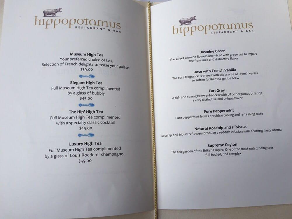Hippopotamus Restaurant New Zealand Menu