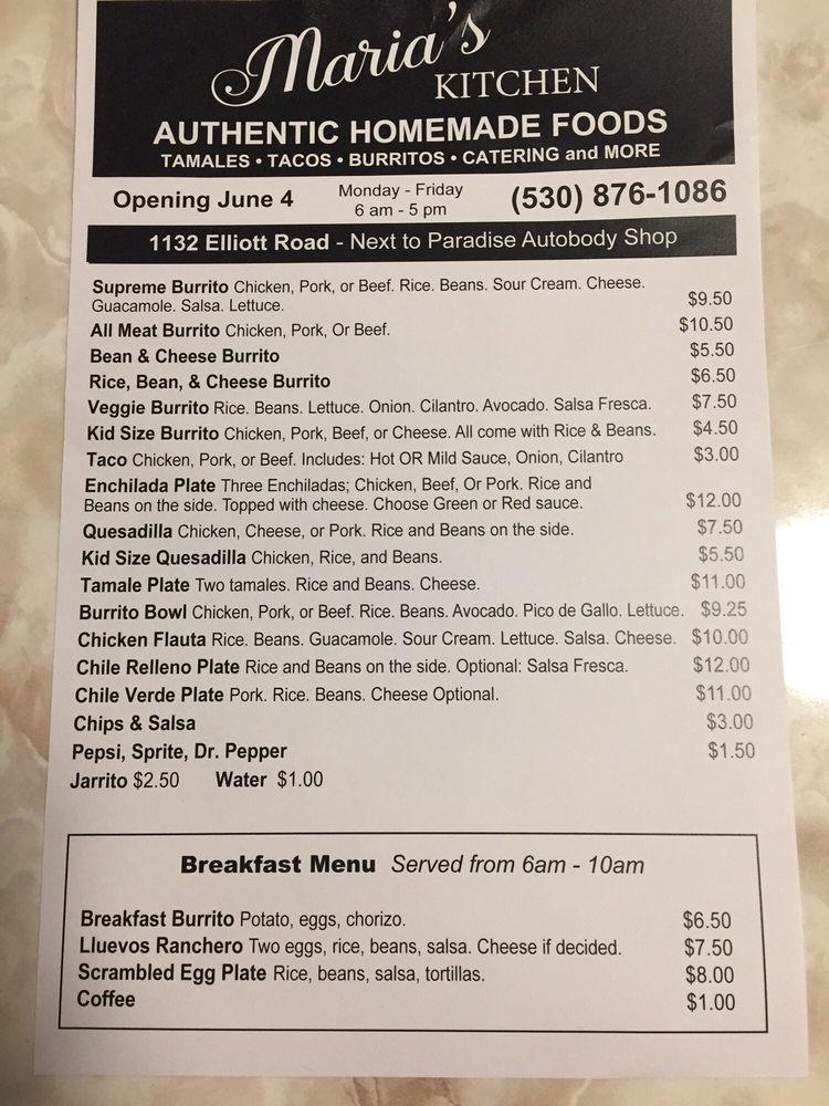 Maria's Kitchen: 1132 Elliott Rd, Paradise, CA