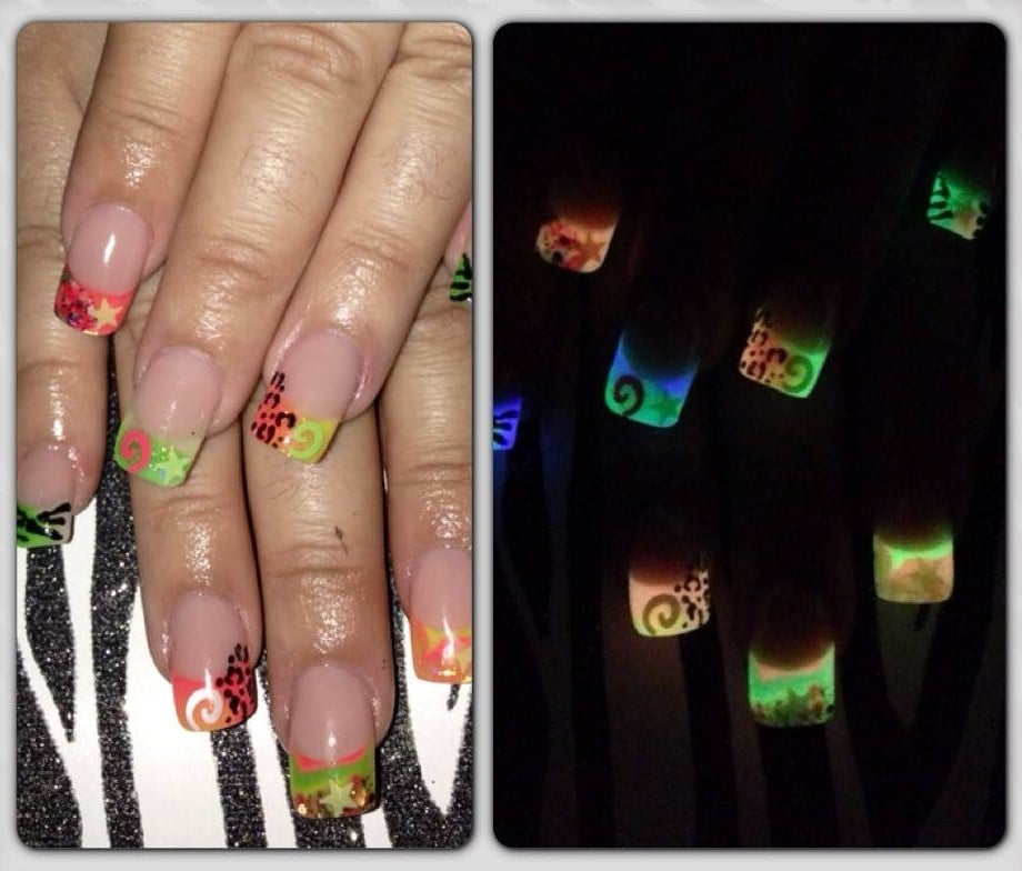 Glow in the Dark Acrylic Nails with encapsulated nail art - Yelp