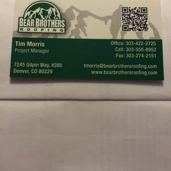 Photo Of Bear Brothers Roofing   Denver CO United States. Their Card
