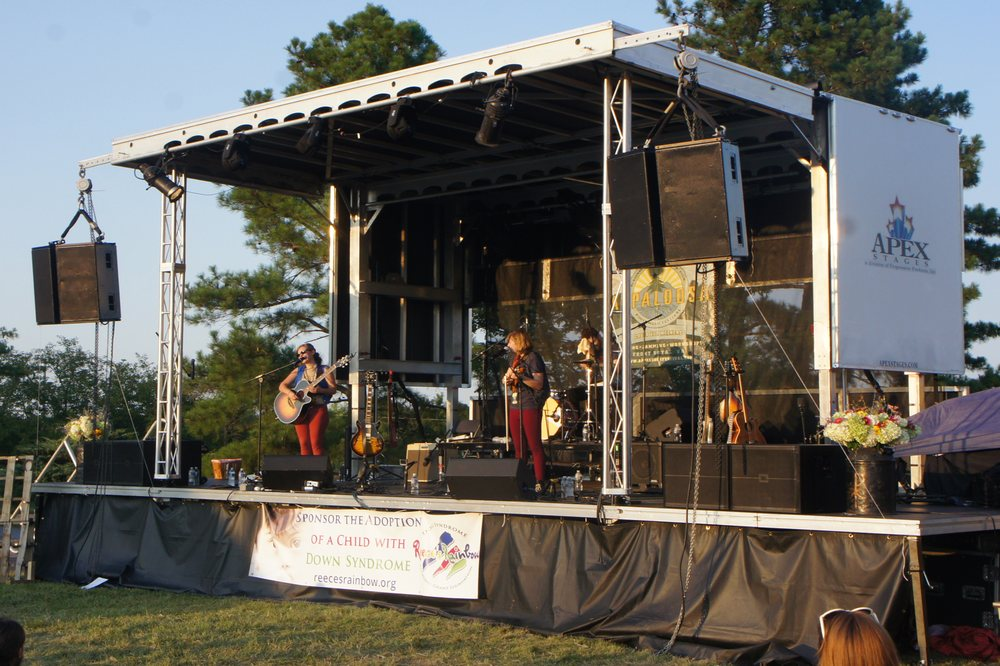 The Accidentals performing on an Apex 2016 Mobile Stage