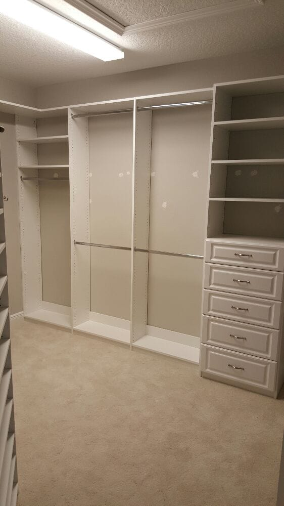 Closet Organizer Built With White Melamine Panels And Shelves With Raised  Panel Faces On The Drawers   Yelp
