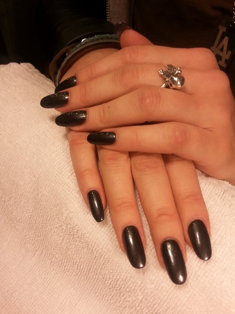 Chic! OPI Black Satin, a shimmery charcoal grey, on Acrylic Nails by ...