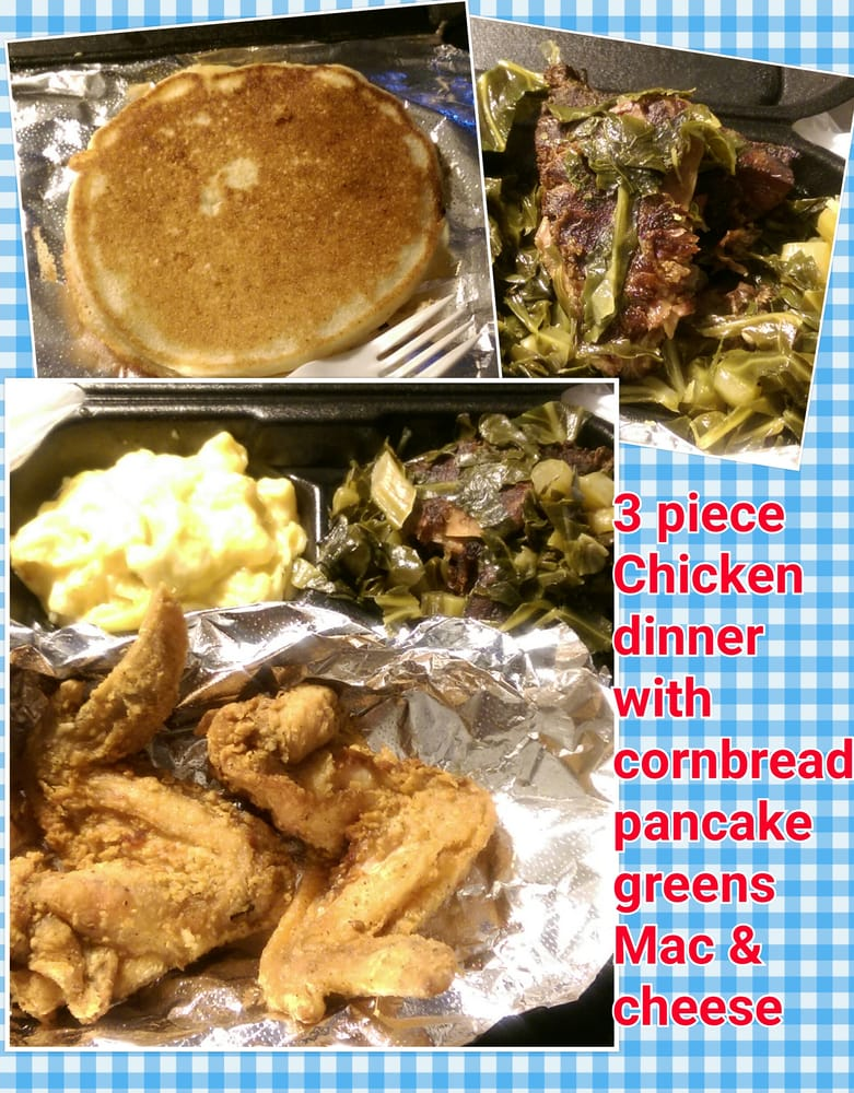 3 piece chicken wing dinner with mac cheese and greens and photo of cleo billys soul food pasadena ca united states 3 forumfinder Choice Image