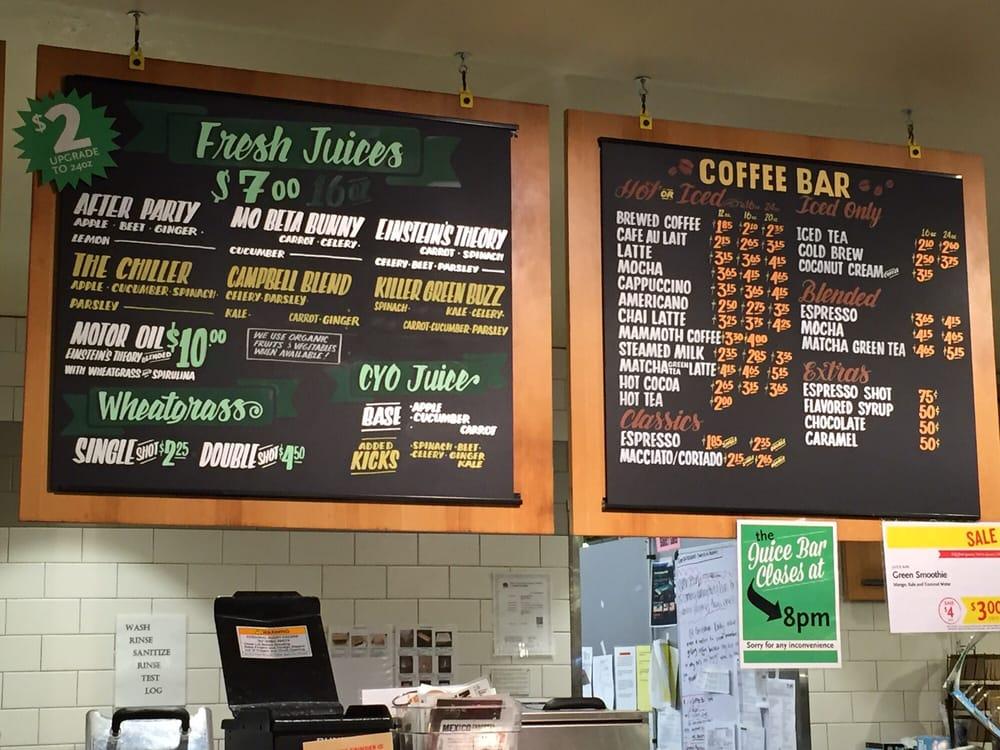 Fresh juices and coffee bar menu yelp for Whole food juice bar menu
