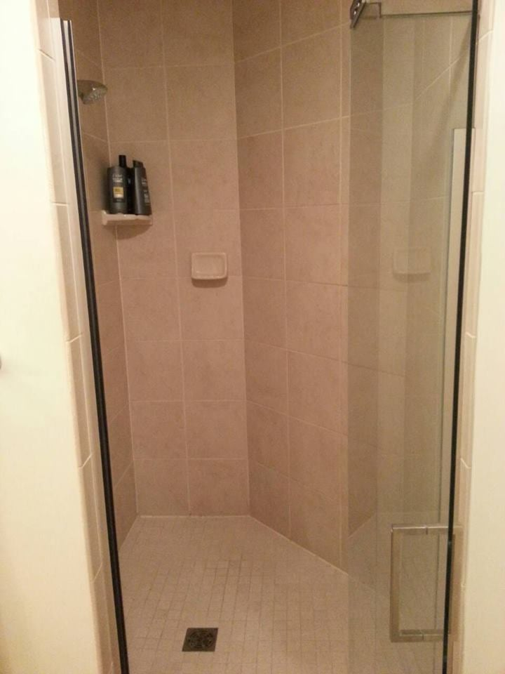 Nice Tile Shower With Glass Door Yelp