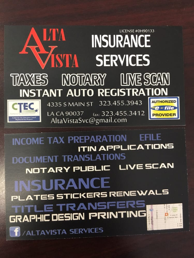 Photo of alta vista services los angeles ca united states business card