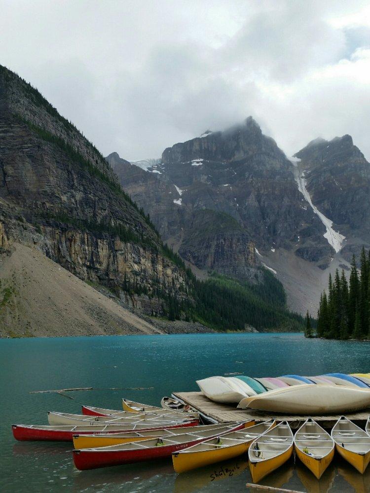 Photo of Banff National Park - Banff, AB, Canada. Moraine Lake. Rental canoes. Banff National Park, Alberta, Canada