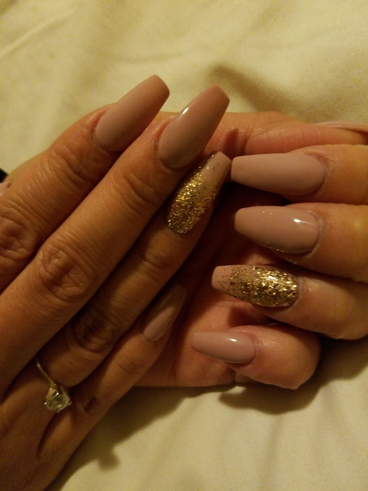 Nude Coffin Nails Glitter And Matte Yelp