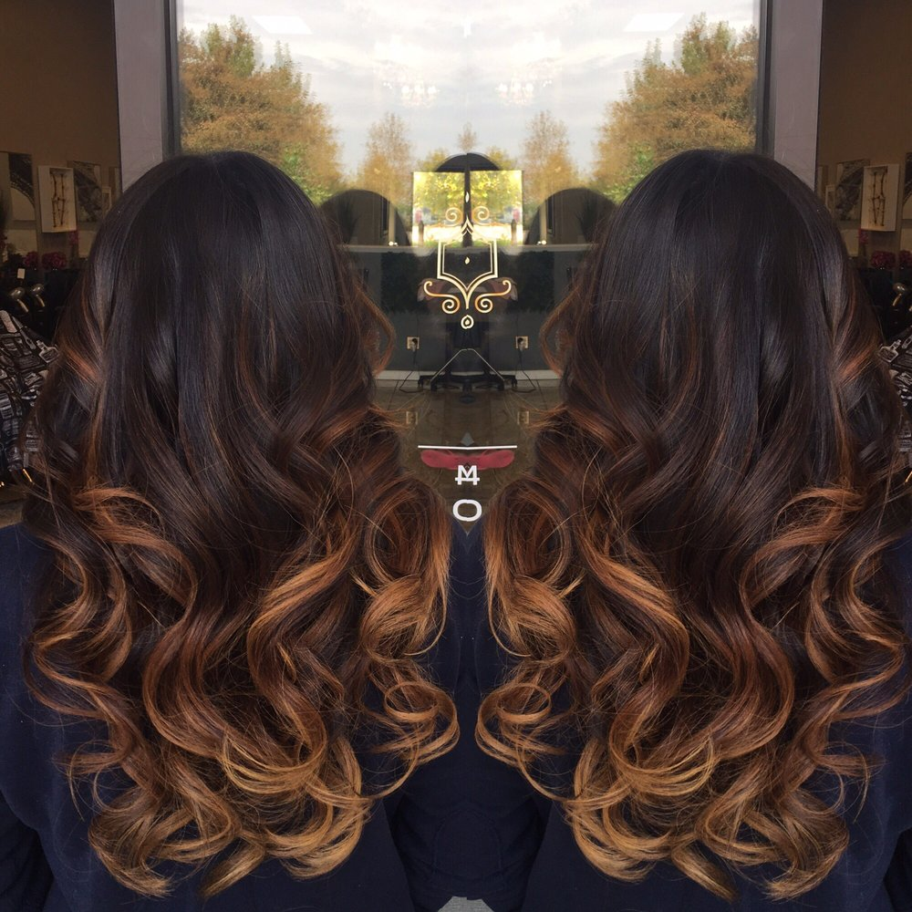 from black hair to caramel balayage first session yelp