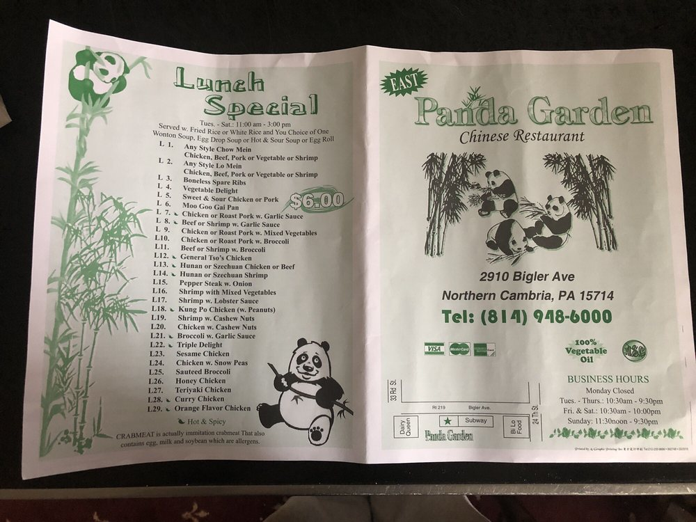 Panda Garden: 2910 Bigler Ave, Northern Cambria, PA