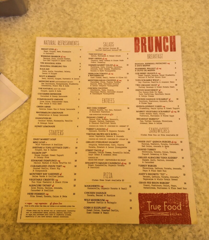 True Kitchen San Diego Menu