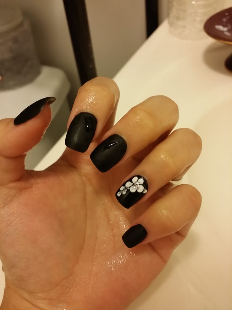 Photo of Princess Nails - Daly City, CA, United States. Another MATTED BLACK - Another MATTED BLACK Nail Color With Glossy Design On My Ring Finger