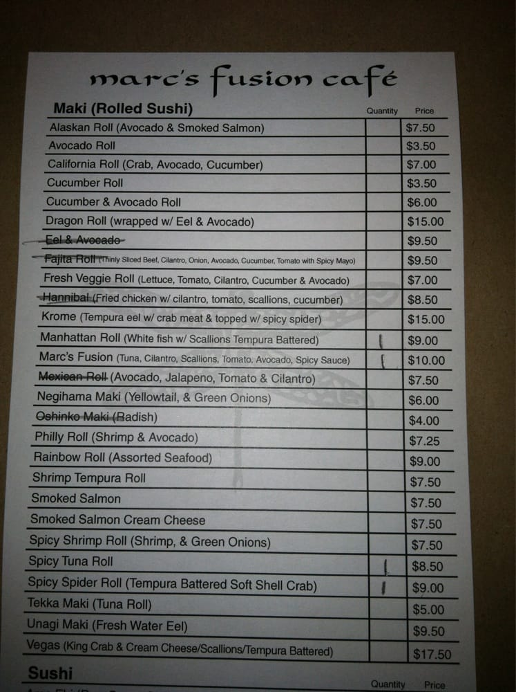 Marc S Fusion Cafe Menu